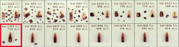 5.56 Fackler Bullet Fragmentation vs Velocity